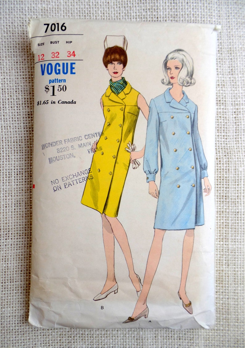 b4231e07f27 Vintage pattern Simplicity 7016 1960s Double breasted Coat