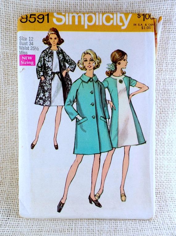 Einfachheit 8591 Büste 34 Mad Men Farbe Block a-Linie Kleid | Etsy
