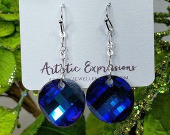 Swarovski Bermuda Blue Crystal Twist Earrings