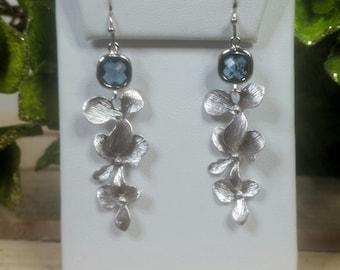 Montana Blue & Triple Orchid Floret Earrings