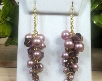 Amethyst Swarovski Crystal & Pearl Vine Earrings