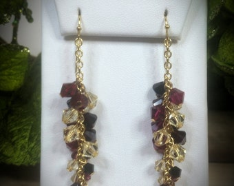 Swarovski Crystal & Pearl Blaze Vine Earrings