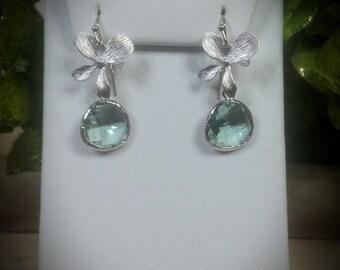 Erinite & Single Orchid Floret Earrings