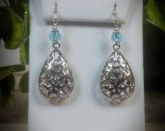 Aquamarine Swarovski Crystal & Silver Filigree Drop Earrings