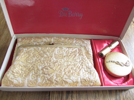DuBarry Folded Gold Purse, Gold Compact, and Lipst