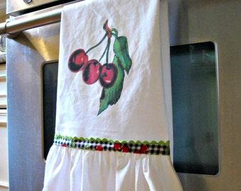 Ruffle Flour Sack Towel- Cherry Graphic
