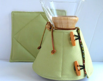 Chemex Cozy and Warming Pad Set- Canvas Duck Cloth -3,6,8,10  cup sizes-choice of 9 colors-made to order
