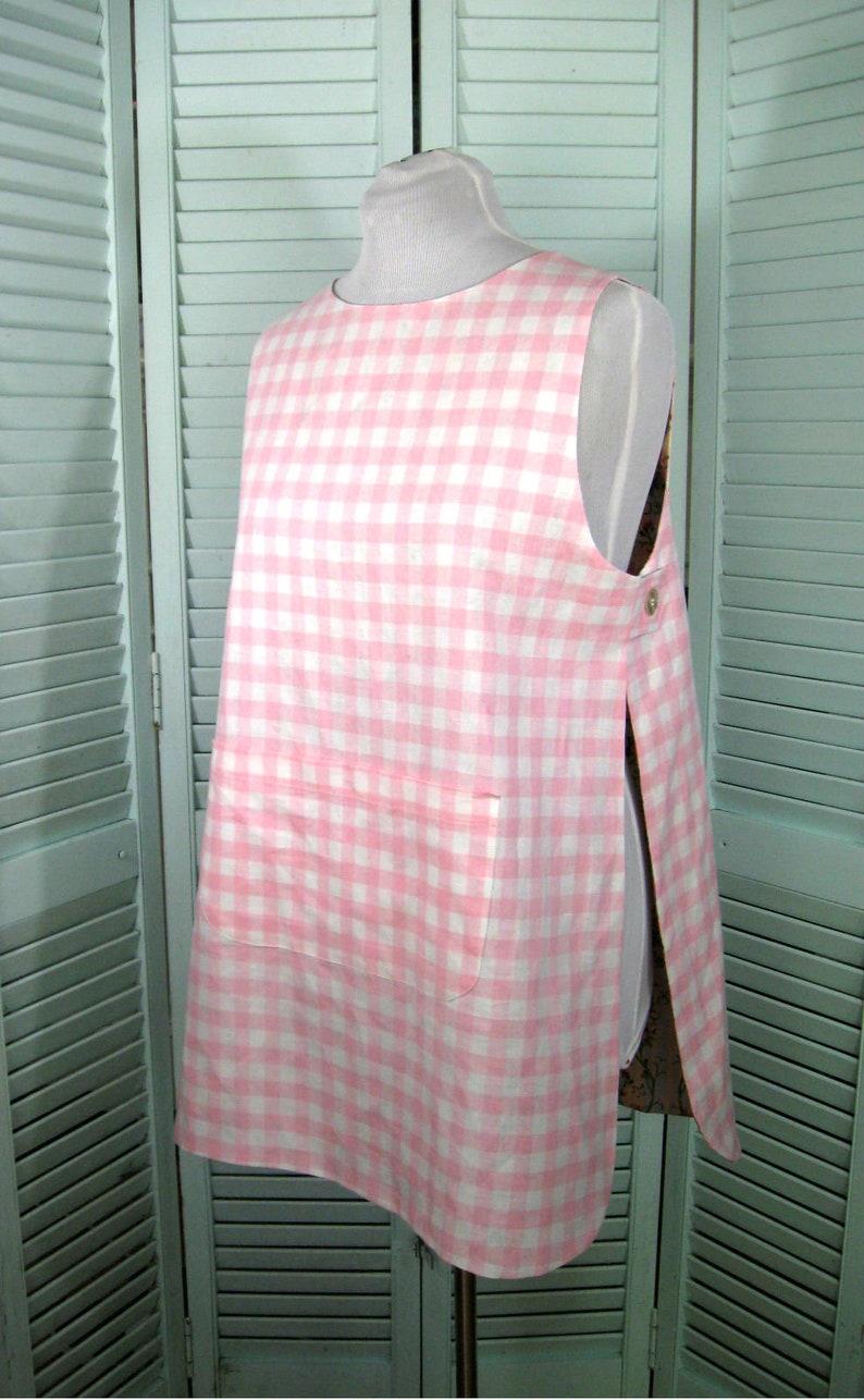 Dottie Angel Reversible Tabard-Smock-Apron-Tunic-Linen-Cotton-Size Misses/' Medium Pink-Blue