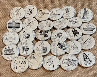 """Mid-Century Modern Vintage Dictionary 1.5"""" Pin-Back Buttons Musical Instruments Band Orchestra Music Gifts"""