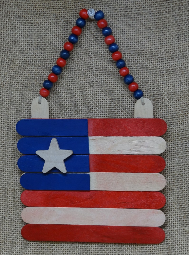 Wood American Flag Primitive Patriotic Summer July 4 Scout Kid image 0