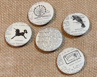 "Vintage Dictionary 1.5"" Pin-Back Buttons Pop Culture Off-Beat Manatee Unicorn Ferris Wheel Ouija Board Marijuana"