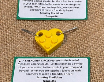 Set of Ten (10) Building Brick Friendship Circle Yellow Heart Scout SWAP or Craft Kits