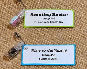 Set of Ten (10) Rocks Crystals Minerals Seashells Beach Ocean in a Jar Bottle Charm Scout SWAP or Craft Kits