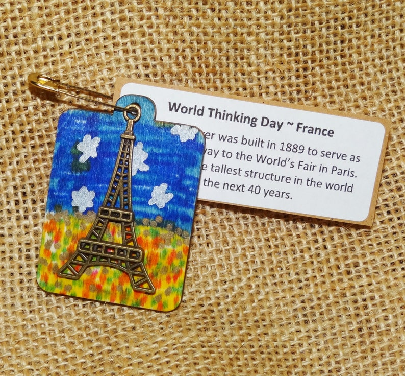 Set of Ten 10 FRANCE French Eiffel Tower Scout SWAP or Craft image 0