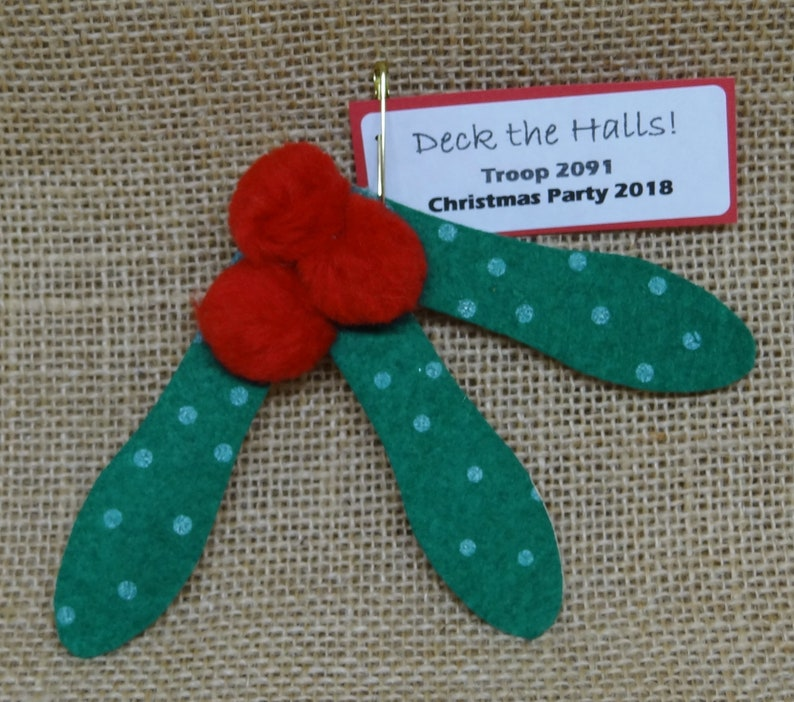 Set of Ten 10 Holiday Holly Mistletoe Scout SWAP or Craft image 0