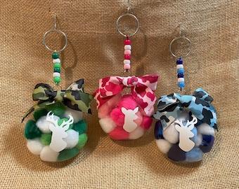 Camouflage Camo Green Blue Pink Deer Buck Doe Hunter Outdoors Christmas Ornament DIY Craft Kits
