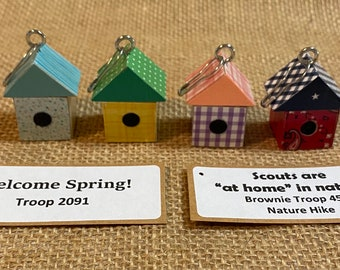 Set of Ten (10) Miniature Wood Birdhouse Scout SWAP or Craft Kit