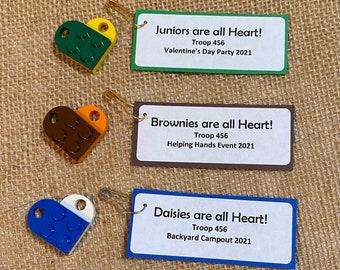 Set of Ten (10) Building Brick Friendship Heart Scout SWAP or Craft Kits