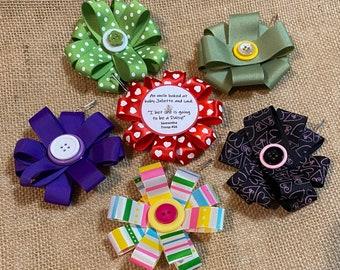 Set of Ten (10) Ribbon Flower Daisy Garden Scout SWAP or Craft Kits