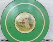 Vintage Green Shabby Chic 1940 39 s Powder Tin with Classical Scene