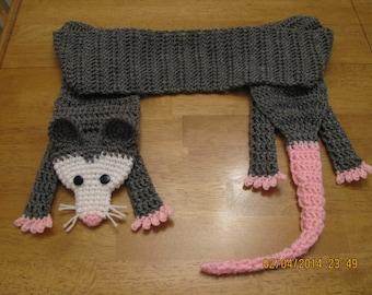 Opossum scarf - crocheted