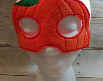 Felt Mask, Pumpkin Mask, Pumpkin Mask, Orange Mask, Costume Mask, Kid Mask, Machine Stitched, Child Mask, Dress Up Mask, CPSC Compliant