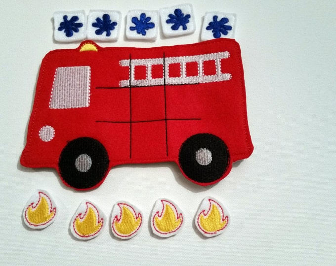 Featured listing image: FREE SHIPPING, Fire Truck Tic Tac Toe Game, Tic Tac Toe Game, Kids Game, Handcrafted Game, Birthday Gift, Holiday Gift, Travel Game,