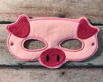 Felt Pig Mask, Felt Mask, Kids Mask, Pig Mask, Machine Stitched, Pretend Play, Child Mask, CPSC Compliant