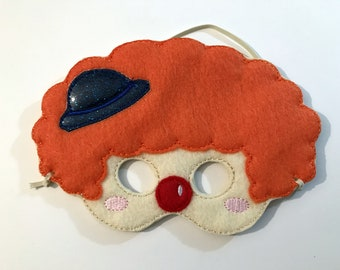 Felt Clown Mask, Mask, Jester Mask, Kids Mask, Felt Mask, Pretend Play, Clown, Child Mask, CPSC Compliant, Clown Mask, Carnival, Halloween