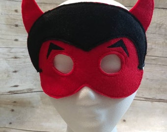 Devil Mask, Felt Devil Mask, Felt Mask, Kids Mask, Mask, Kids Mask, Machine Stitched, Pretend Play, Child Mask, CPSC Compliant Mask