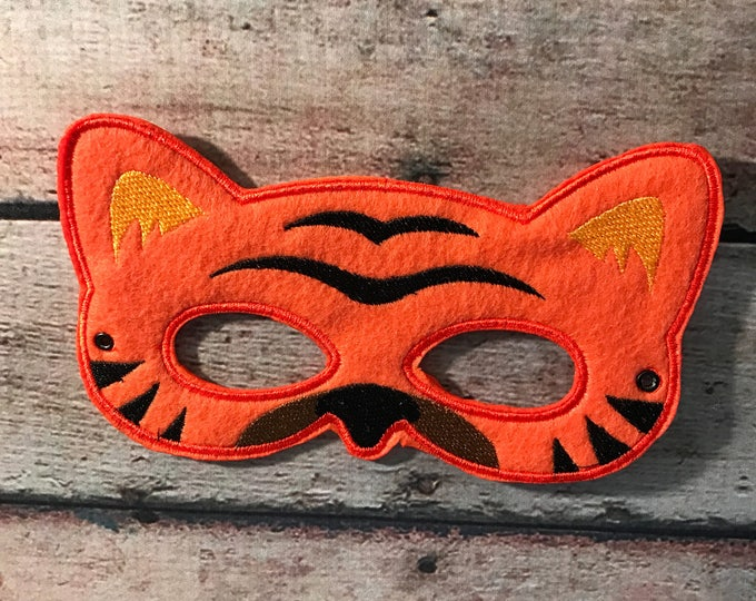 Featured listing image: Felt Tiger Mask, Felt Mask, Kids Mask, Child Mask, Animal Mask, CPSC Compliant, Felt Animal Mask, Tiger Mask, Dress Up Mask, pretend play