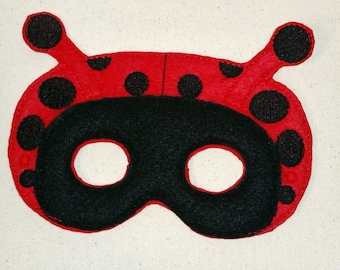 Felt Mask, Lady Bug Mask, Mask, Felt Lady Bug Mask, Animal Mask, Kids Mask, Dress Up Mask, Black Mask, Red Mask, Child Mask, CPSC Compliant