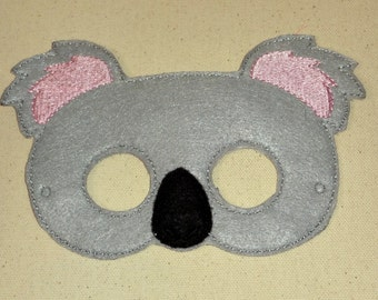 Felt Koala Mask, Koala Bear Mask, Mask, Animal Mask, Animal Mask, Pretend Play, Child Mask, Make Believe Mask, CPSC Compliant,