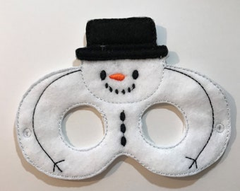 Felt Snowman Mask, Felt Mask, Kids Mask, Machine Stitched, Pretend Play, Child Mask, Character Mask, Winter Theme Mask, CPSC Compliant
