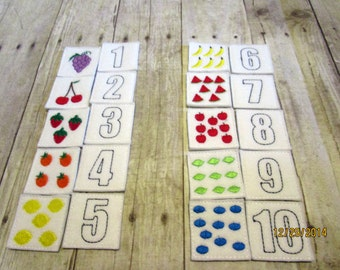 Felt & Vinyl Numbers Memory Game, Matching Game, Learning Tool, Educational, Numbers, Learning center, Teacher Gift, CPSC Compliant
