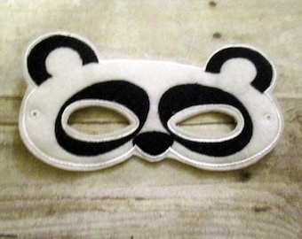 Felt Panda Mask, Felt Mask, Kids Mask, Machine Stitched, Pretend Play, Child Mask,