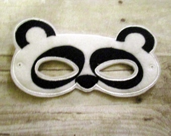 Felt Panda Mask, Mask, Kids Mask, CPSC Compliant, Animal Mask, Felt Kids Mask, Dress Up mask, Child Mask, Felt Mask, Embroidered Mask,