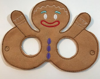 Felt Gingerbread Man Mask, Felt Mask, Kids Mask, Machine Stitched, Pretend Play, Child Mask, Character Mask, Story Mask, CPSC Compliant