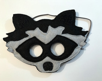 Felt Raccoon Mask, Animal Mask, Kids Mask, Felt Mask, Pretend Play, Raccoon, Child Mask, CPSC Compliant, Mask, Raccoon Mask