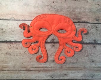 Orange Octopus Mask, Felt Mask, Kids Mask, Machine Stitched, Pretend Play, Child Mask, Animal Mask, Octopus Mask, Orange Mask