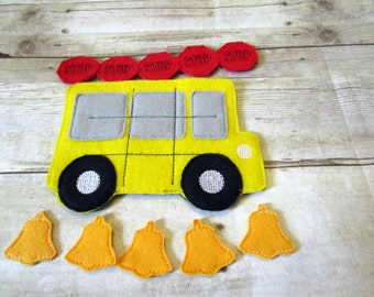 School Bus Tic Tac Toe Game, Kids Game, Handcrafted Game, Birthday Gift, Holiday Gift, Travel Game, Stocking Stuffer, CPSC Compliant