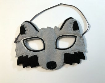 Felt Wolf Mask, Animal Mask, Kids Mask, Felt Mask, Machine Stitched, Pretend Play, Child Mask, CPSC Compliant, Mask, Wolf Mask