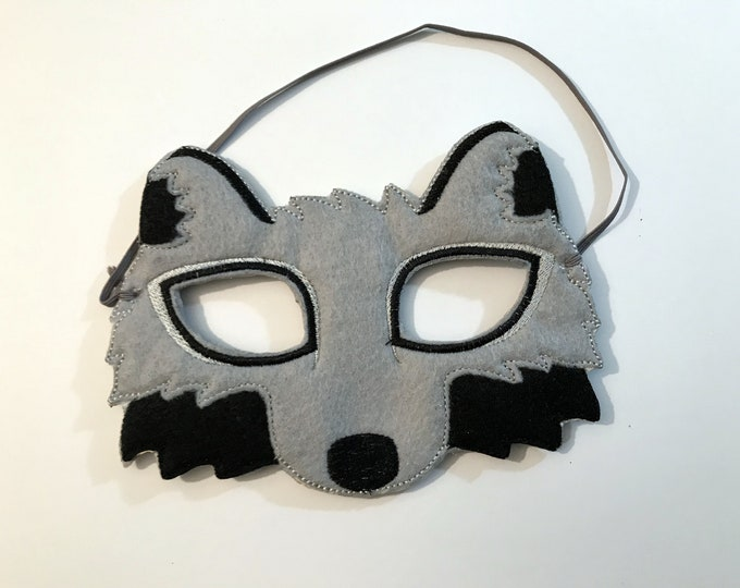 Featured listing image: Felt Wolf Mask, Animal Mask, Kids Mask, Felt Mask, Machine Stitched, Pretend Play, Child Mask, CPSC Compliant, Mask, Wolf Mask
