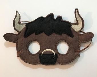 Felt Bull Mask, Mask, Animal Mask, Kids Mask, Felt Mask, Pretend Play, Child Mask, CPSC Compliant,  Performance Mask, Halloween