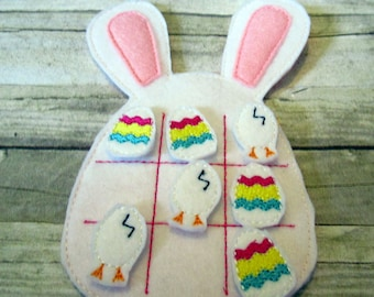 Tic Tac Toe Game, Bunny Tic Tac Toe, Felt Tic Tac Toe Game, Easter Tic Tac Toe Game, Travel Game,  Easter Game, Kids Game, CPSC Compliant