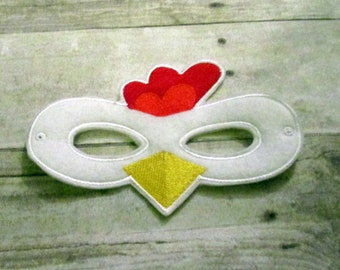 Felt Chicken Mask, Felt Mask, Mask, Kids Mask, Animal Mask, Felt Kids Mask, Dress Up Mask, Kids Animal Mask, Child Mask,