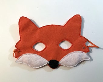 Felt Fox Mask, Animal Mask, Kids Mask, Fox, Felt Mask, Machine Stitched, Pretend Play, Child Mask, CPSC Compliant, Mask, Fox Mask