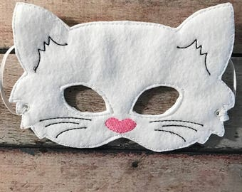 White Felt Cat Mask, Felt Mask, Kids Mask, Machine Stitched, Pretend Play, Child Mask, Animal Mask, White Cat, Cat Mask, CPSC Compliant