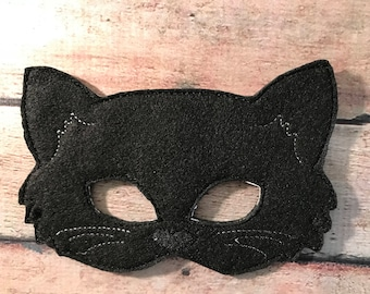 Black Felt Cat Mask, Felt Mask, Kids Mask, Machine Stitched, Pretend Play, Child Mask, Animal Mask, Black Cat, Cat Mask, CPSC Compliant,
