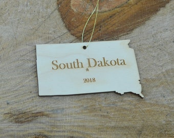 Natural Wood South Dakota State Ornament WITH 2018